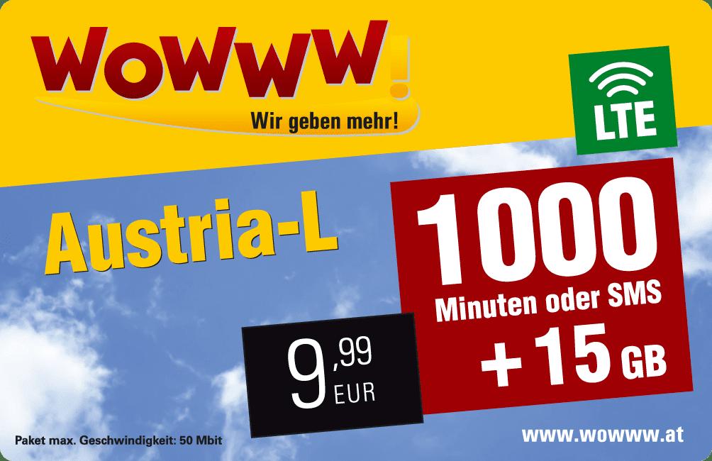Wowww Austria L Datenpaket mit Mobilfunk