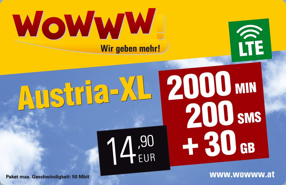 Wowww Austria XL Datenpaket mit Mobilfunk